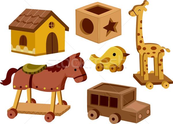 Brinquedos ilustração diferente branco cavalo Foto stock © lenm