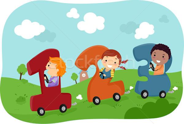 Crianças equitação 123 carros ilustração carro Foto stock © lenm