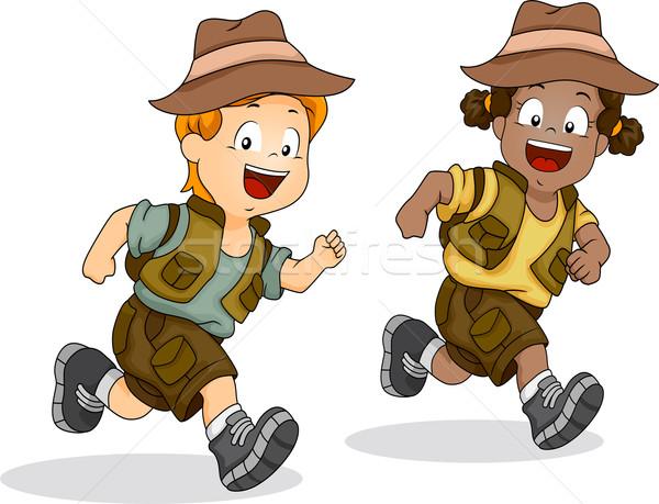 Boy and Girl Kids Running for Safari Adventure Stock photo © lenm