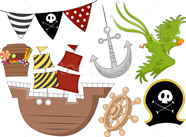 Pirate Birthday Design Elements 2 Stock photo © lenm