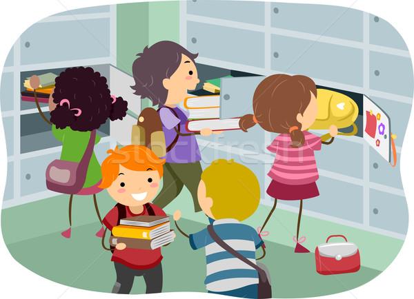 Gyerekek öltözőszekrény illusztráció dolgok lány gyermek Stock fotó © lenm