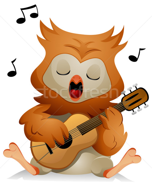 Búho guitarra cute cantando aves Cartoon Foto stock © lenm