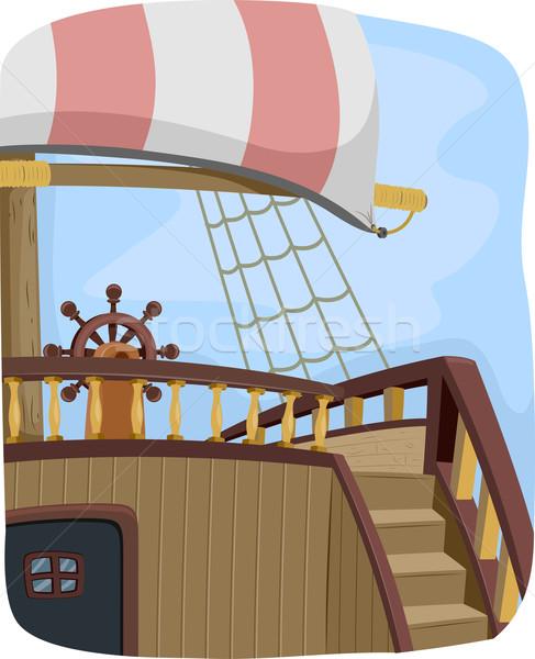 Foto stock: Pirata · buque · volante · ilustración · diseno · vela