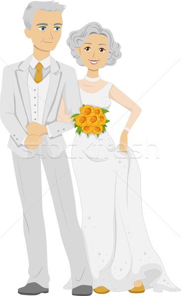 Arany esküvő illusztráció idős pár visel Stock fotó © lenm