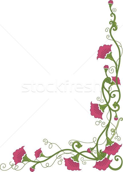 цветочный углу границе иллюстрация цветы вокруг Сток-фото © lenm