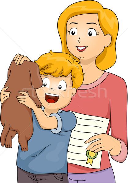 犬 採用 実例 少年 母親 ストックフォト © lenm