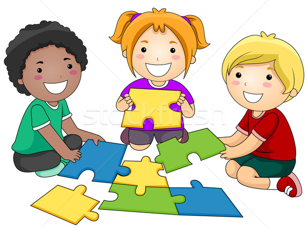 Puzzle enfants groupuscule fille africaine Photo stock © lenm