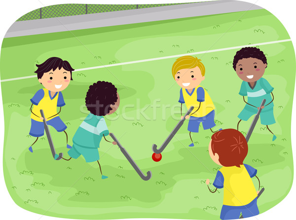 Stickman Boys Field Hockey Stock photo © lenm