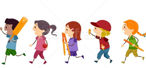 Crianças críquete ilustração engrenagem crianças criança Foto stock © lenm