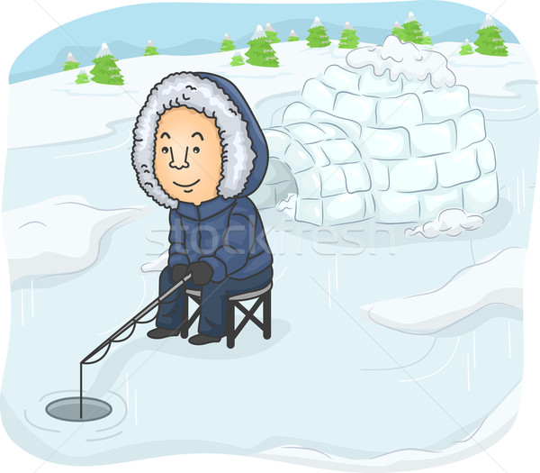 Man Igloo Fishing Stock photo © lenm
