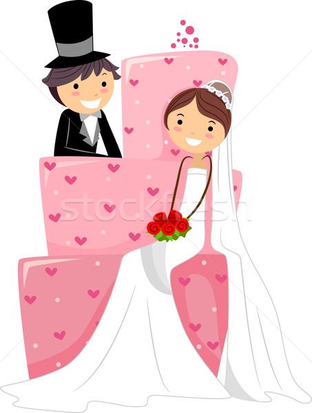 Esküvői torta illusztráció menyasszony ül lány esküvő Stock fotó © lenm