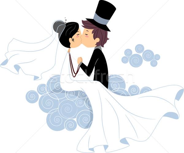 Bruiloft kus illustratie meisje Stockfoto © lenm