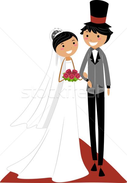 Bruiloft gangpad illustratie asian paar lopen Stockfoto © lenm