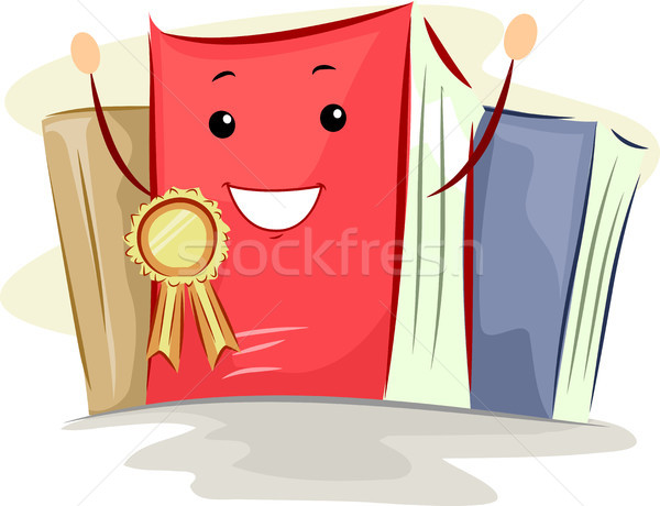 Book Mascot Best Seller Ribbon Stock photo © lenm