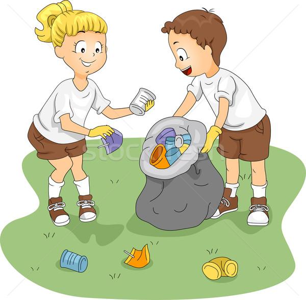 Рисунки детей убирающих мусор