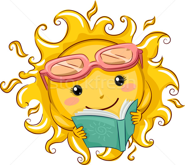 Sol lector ilustración lectura libro Foto stock © lenm