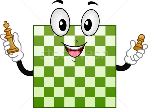 Tablero de ajedrez mascota ilustración rey peón Foto stock © lenm