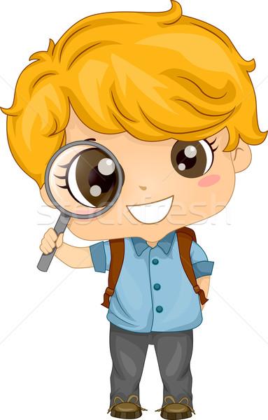Kicsi fiú tart nagyító illusztráció aranyos Stock fotó © lenm