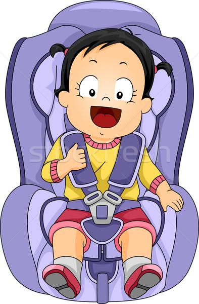 Menina carro assento ilustração menina bebê Foto stock © lenm