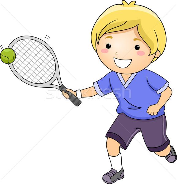 теннис мальчика иллюстрация мало теннисный мяч ракетка Сток-фото © lenm