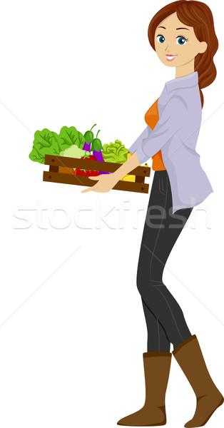 Organik üretmek örnek kız ahşap Stok fotoğraf © lenm