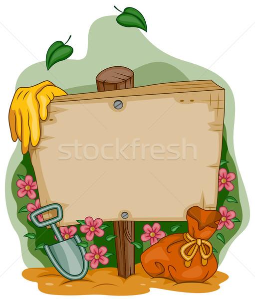 Stok fotoğraf: Bahçe · çerçeve · tabelasını · imzalamak · karikatür