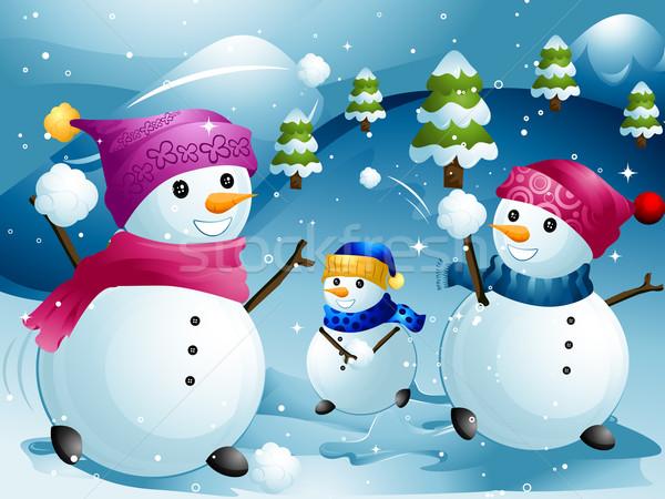 Bola de neve lutar ilustração inverno natal férias Foto stock © lenm