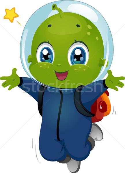 Alien Boy Kid Happy Jump Stock photo © lenm