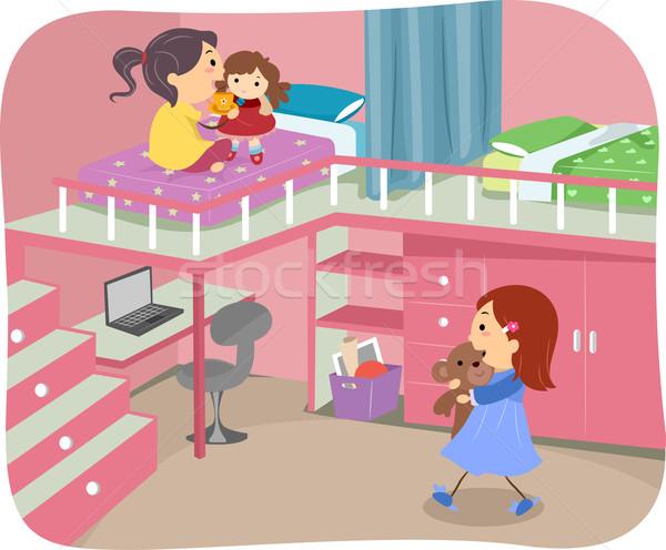 女の子 ベッド ロフト 実例 子 ストックフォト © lenm