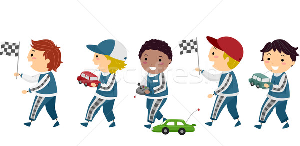 Fiúk verseny autók illusztráció versenyzés egyenruhák Stock fotó © lenm