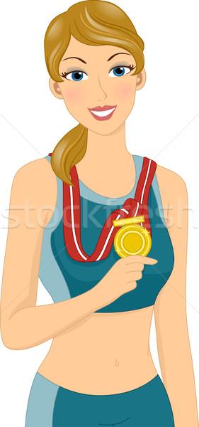девушки спорт иллюстрация женщины спортсмена Сток-фото © lenm