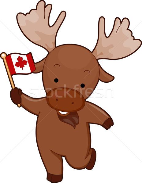 Mascotte eland Canada vlag illustratie Stockfoto © lenm