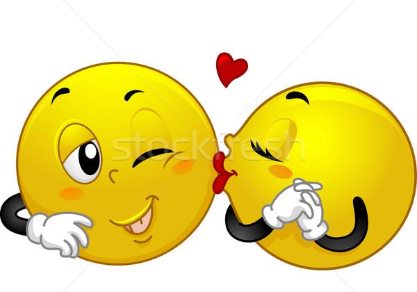 Smiley Couple Kiss Stock photo © lenm