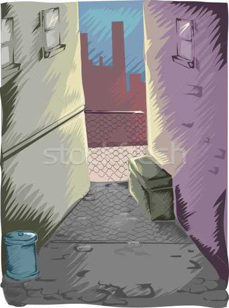 Sötét sikátor városi illusztráció titokzatos modern Stock fotó © lenm
