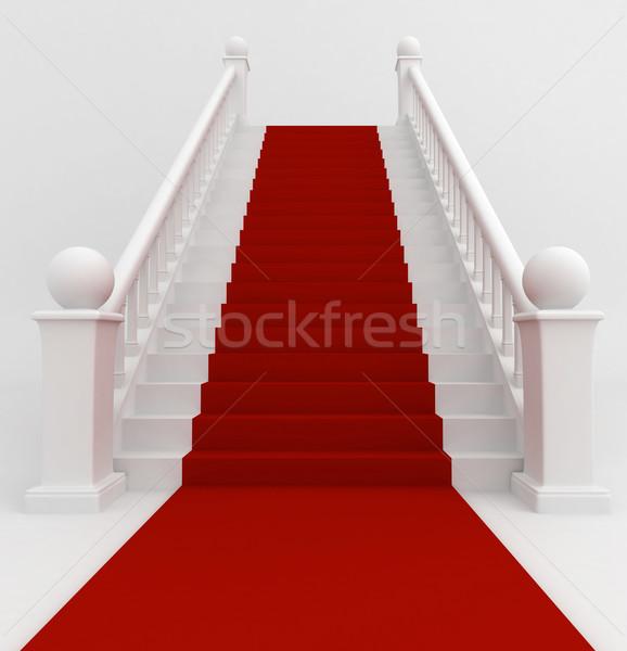красный ковер 3d иллюстрации лестница покрытый ковер знаменитость Сток-фото © lenm