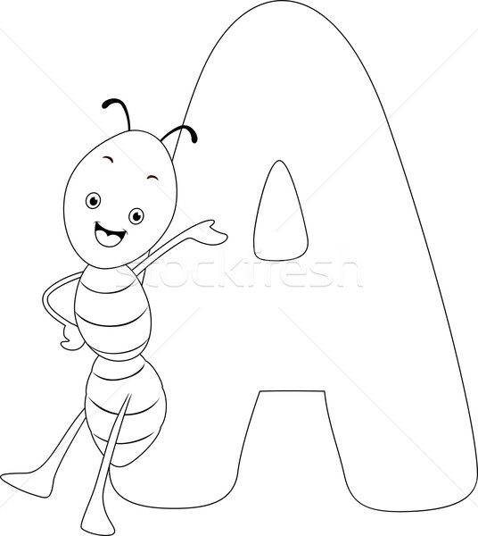 Coloring Page Ant Stock photo © lenm