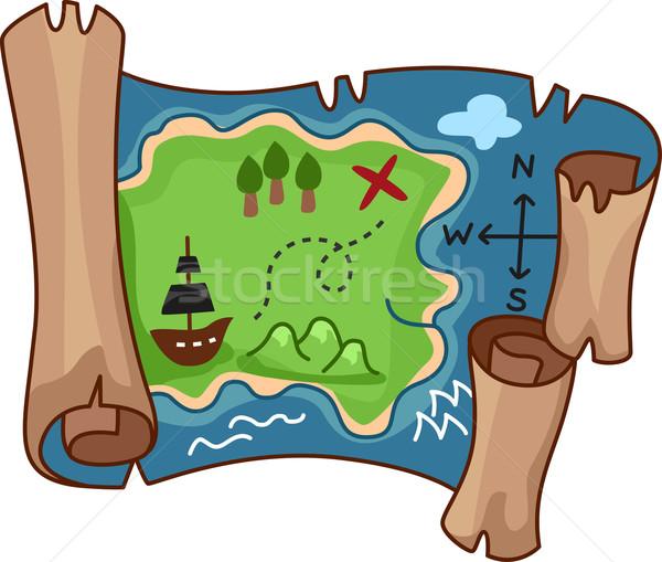 Schatkaart illustratie spel cartoon schat scroll Stockfoto © lenm