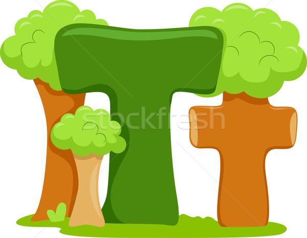 Litera t ilustracja lasu charakter drzew edukacji Zdjęcia stock © lenm