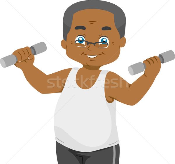 Senior gewichtheffen illustratie ouderen man Stockfoto © lenm