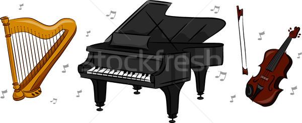 Hangszerek illusztráció zenekar zene zongora hegedű Stock fotó © lenm