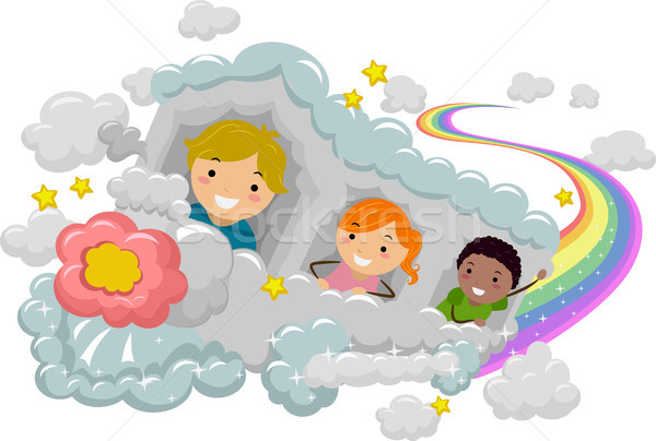 Kids on a Cloud Rainbow Train Stock photo © lenm