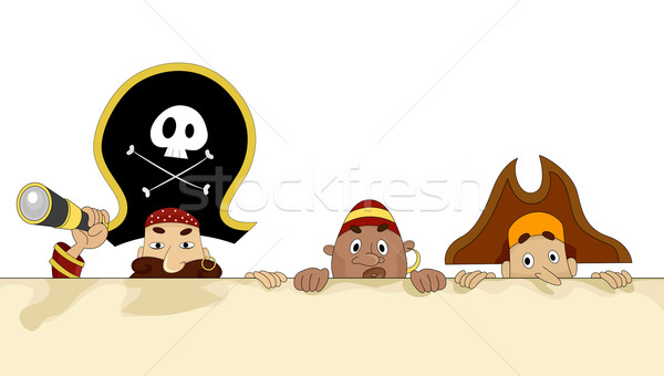 Pirates with Blank Board 2 Stock photo © lenm