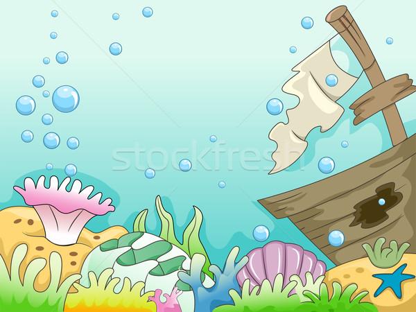 Stockfoto: Schipbreuk · illustratie · onderwater · zee · ontwerp · oceaan