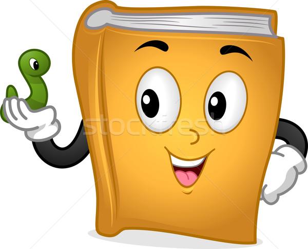книжный червь талисман иллюстрация книга зеленый Сток-фото © lenm