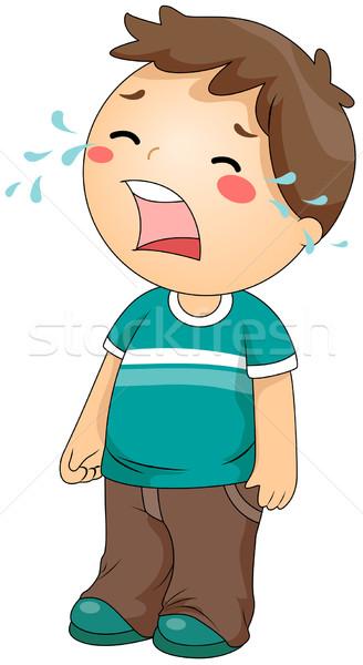 Ağlayan Erkek çocuk çocuk Yalıtılmış Vektör Ilüstrasyonu