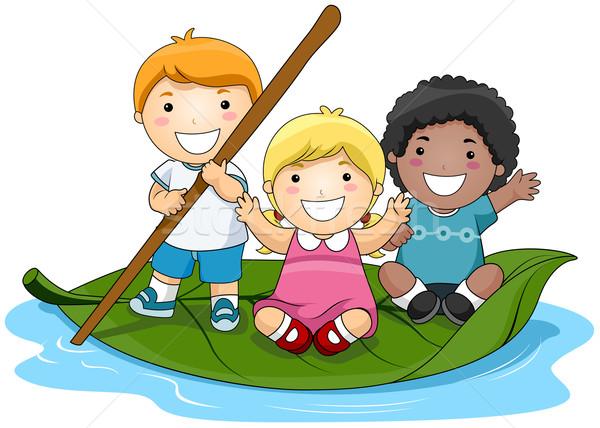 детей лист лодка воды дети Сток-фото © lenm