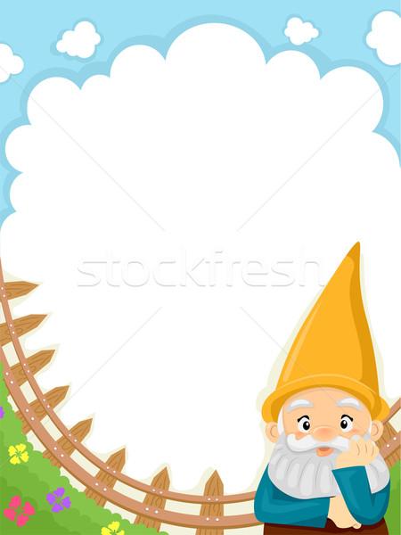 Jardín gnomo fondo ilustración establecer azul Foto stock © lenm