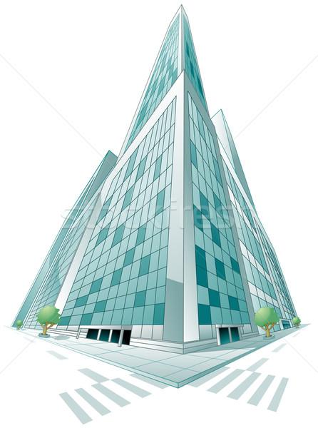 Modern bina perspektif ağaç yol Bina Stok fotoğraf © lenm