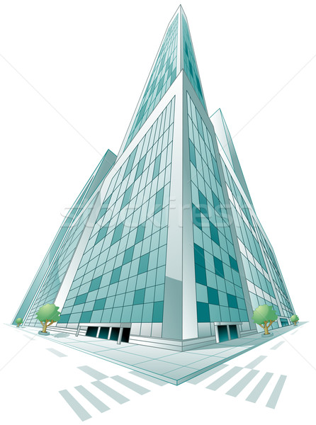 Edifício moderno perspectiva árvore estrada edifício Foto stock © lenm