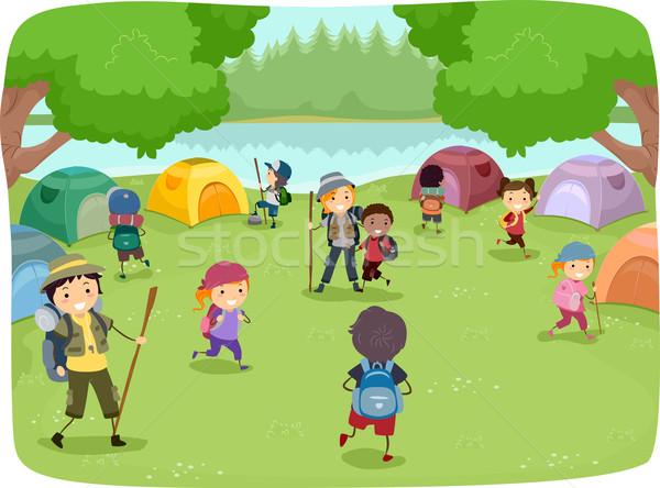 лагерь дети иллюстрация вокруг девушки Сток-фото © lenm